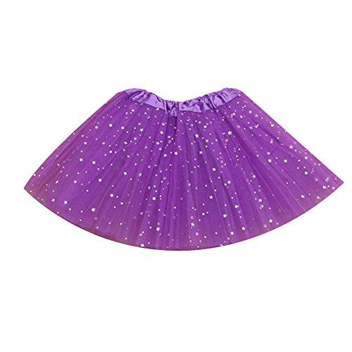 Triple Layer Tulle - Losorn Kid Girls Dress Tutu Glitter Ballet Dress Triple Layer Soft Tulle purple