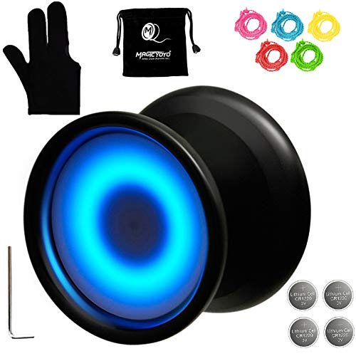 MAGICYOYO Y02-Aurora Light Up Professional Unresponsive Yoyo with Led Lights with Yoyo Glove, Yoyo Bag, 5 Replacement Strings, Blue LED Light