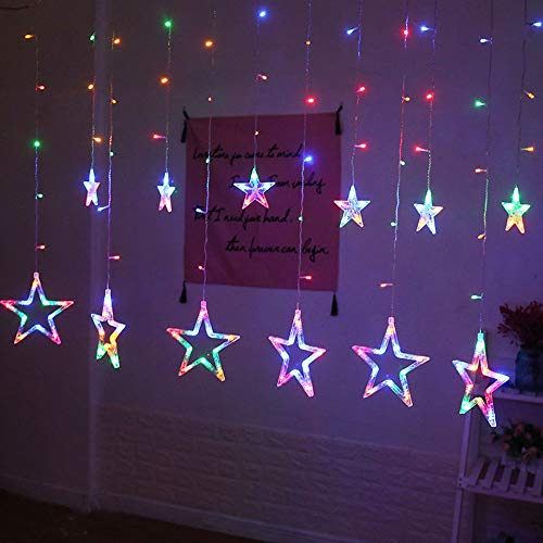 Tuscom Creative Fairy Stars LED Hanging Curtain Lights String Net, for Household Holiday Room Wedding Xmas Decorative ,138Pcs Mini Led Light &12 Pcs Star Light (2 Style) (Multicolor)