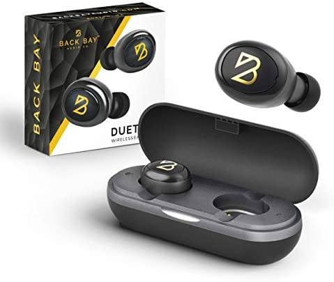 Back Bay – Duet 50 Wireless Earbuds – Bluetooth 5.0 Earphones with 40 Hours of Battery Using Charging Case. Sweatproof Truly Wireless TWS Stereo Sound Headphones with APTX. Microphone for Phone Calls