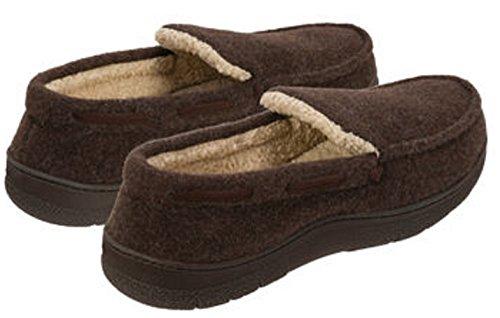 Dearfoams Mens Memory Foam Slippers Moccasin Shoes Brown YSDRU