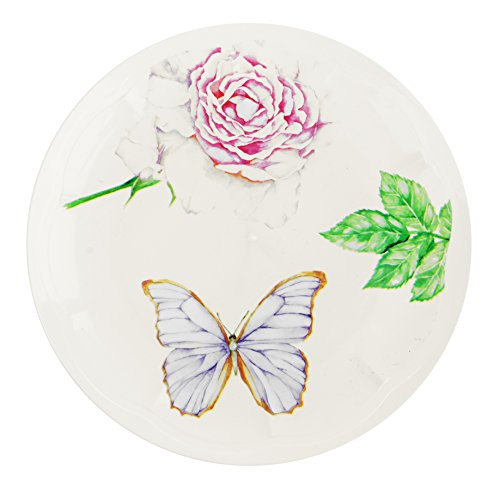 Vintage Collection Disposable Plastic Dinnerware Party Plates - Real China Look - Hard & Reusable - Flower & Butterfly Design (18 Piece Pack - Ivory - 9 Inch Round) Meadow Round Serving Plate