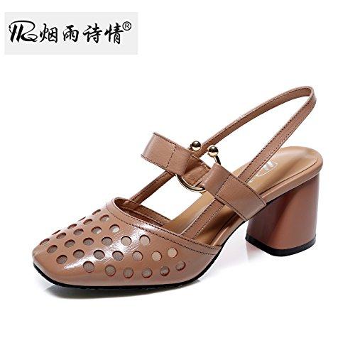 KPHY Ferse Schuhe Sandalen Sommer Damenschuhe Baotou Ausgehöhlt 7Cm Schuhe Mit Hohen Absätzen.