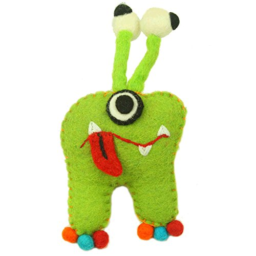 Felt Tooth Fairy Monster Pillow with Pouch and a Eyeball Design - Handmade in Nepal ()