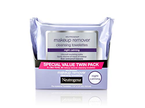 Neutrogena Makeup Remover Night Calming Cleansing Towelettes, Disposable Nighttime Face Wipes to Remove Dirt, Oil & Makeup, 25 ct 2 Pk (Remover Aveeno Makeup)
