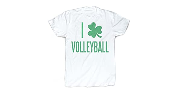 31af8914 Amazon.com: ChalkTalkSPORTS I Shamrock Volleyball T-Shirt | Vintage Faded Volleyball  T-Shirt Adult Small White: Clothing