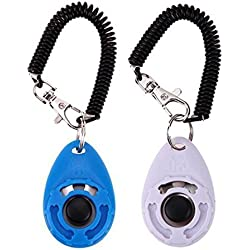 Vantiee 2-Pack, 2017 NEW Version Dog Training Clicker Wrist Strap Pet Training Clicker Set Communication Clicker Button Cat Bird Hand Puppies (Blue+White)