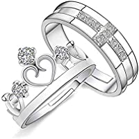 Vikas gift gallery silver and rhodium plated metal cubic zirconia adjustable king crown queen couple finger ring set for men and women