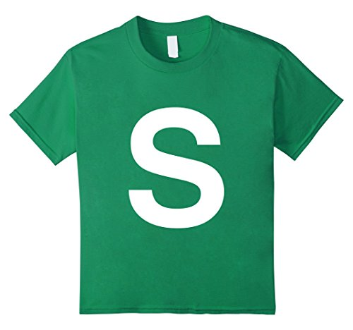 Kids Letter S Halloween Costume Tee Shirt 12 Kelly (Quick Last Minute Halloween Costumes For Men)