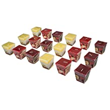 All2shop Scented Votive Candles - 18pcs Christmas Pack - Decorative Home Aromatherapy Fragrance Set with 3 Different Scents Apple-Cinnamon Vanilla Strawberry