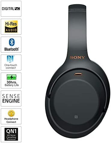 Sony WH-1000XM3 Industry Leading Wireless Noise Cancelling Headphones, Bluetooth Headset with Mic for Phone Calls, 30 Hours Battery Life, Quick Charge, Touch Control & Alexa Voice Control – (Black)