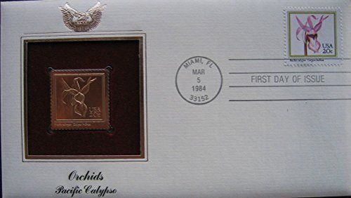 1984 Orchids Pacific Calypso Replica 22kt Gold GOLDEN FDC First Cover STAMP
