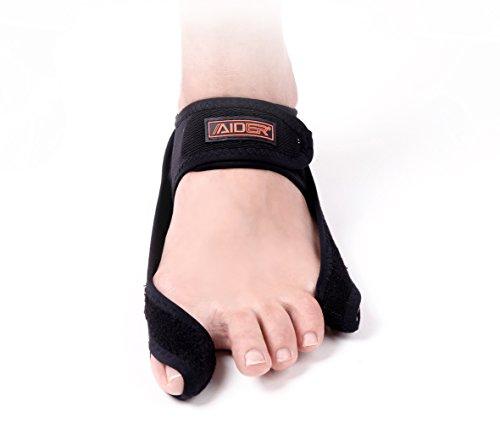 Aider Bunion Support, Comprehensive Bunion Corrector & Bunion Relief ToePal kit-5 Piece Hallux Valgus & Bunion Pads, Toe Spacers, Toe Separators, Bunion Splint, Toe Straightener (Right (black)) by Aider