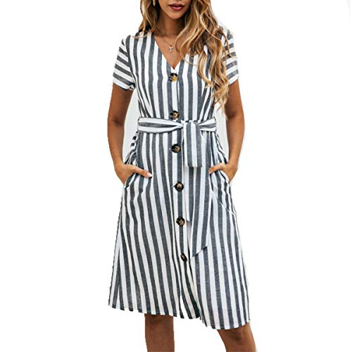 OEUVRE Women V Neck Short Sleeve Wrap Tie Waist Button Front Shirt Dress Long Striped Dress with Pocket Black S