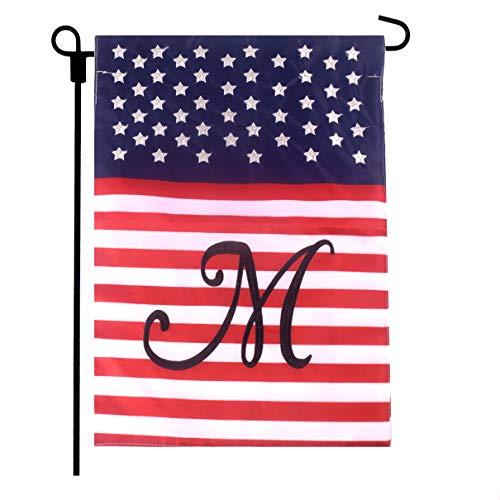 Fun-Here Garden Flag Double Sided Home Garden Outdoor Decorative (M) (Flag Outdoor Monogram)
