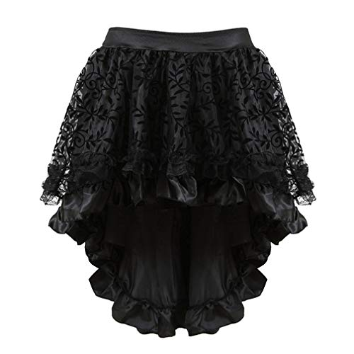 ASO-SLING Women's Victorian Asymmetrical Ruffled Satin & Lace Trim Gothic Skirts Women Corset Dress