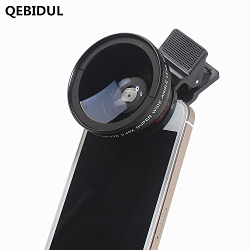 QEBIDUL Universal Clip Professional 37MM 49mmUV HD Camera Lens Kit 0.45X Super Wide Angle 12.5X Super Macro Mobile Phone Lense For iPhone 6 Plus 5S 4S Samsung S6 S5 Note 4 Xiaomi and Redmi 4