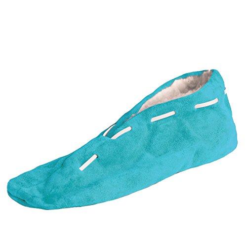 BRUBAKER Damen oder Herren ABS-Stopper-Hausschuhe Echtleder mit Fell Innenfutter - Achtung, die Schuhe fallen 1 Größe kleiner aus, bitte entsprechend größer bestellen! Türkis