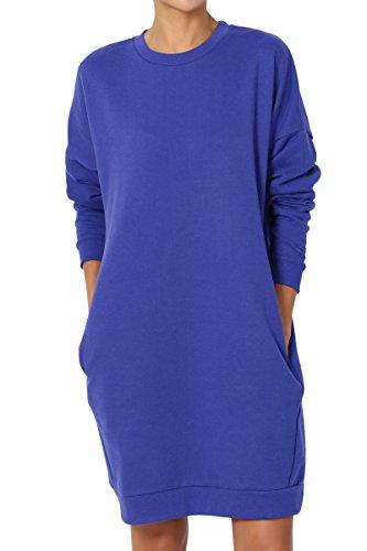- TheMogan Women's Casual Crew Neck Pocket Loose Sweatshirt Tunic Royal Blue 2XL