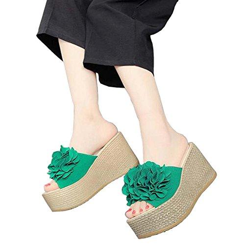 ANDAY Bohemian Womens Flower Wedges Slippers Travel Beach Holidays Flatform Sandals Green 0qEMi