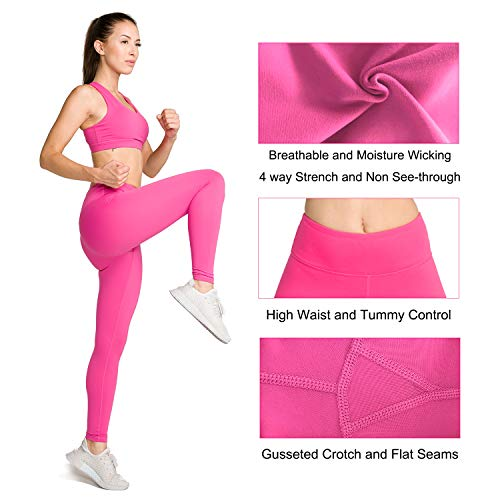 LOVESOFT Womens High Waist Leggings, Ankle Length Solid Color, Soft and Strench, Basic Yoga Pants for Workout Casual Rose Pink