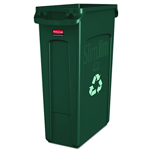 Rubbermaid  354007GN Commercial Slim Jim Recycling Container with Venting Channels, Plastic, 23 Gallons, Green