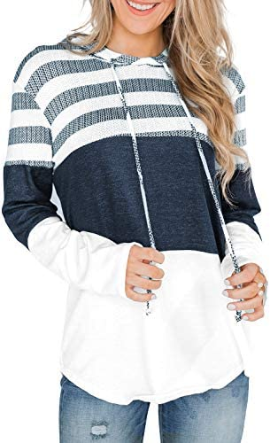 Ancapelion Women's Hoodies Striped Color Block Sweatshirts Hooded Sweater Long Sleeve Pullover Casual Tops