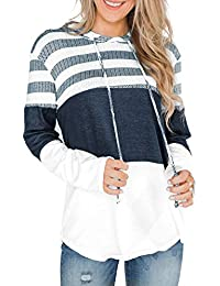 Women's Hoodies Striped Color Block Sweatshirts Hooded Sweater Long Sleeve Pullover Casual Tops
