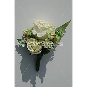 Gorgeous, Double Ivory Rose Buttonhole w/ Wild Flower & Allium 91