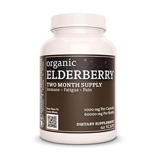 Elderberry Remedy's Nutrition (Sambucus nigra) MEGA STRENGTH 1000 mg / 60.000 mg per bottle organic vegan vcaps
