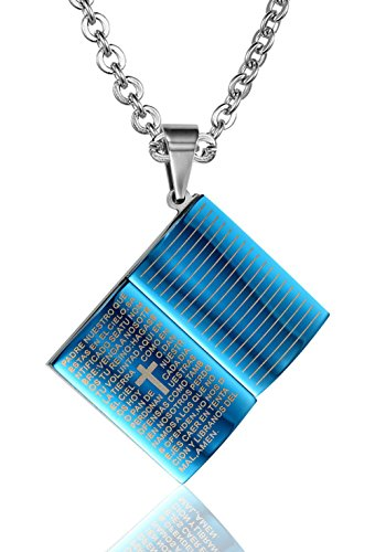 Price comparison product image AnaZoz Stainless Steel Necklace Textbooks Shape Bible Letter Female Cross Pattern Width 2.4CM High 1.8CM