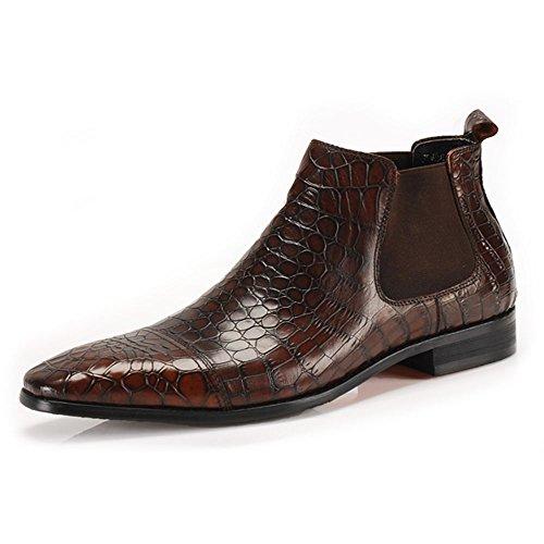 Fulinken Men Genuine Leather Martin Boots Slip on Crocodile Grain Chelsea Boots Shoes (8.5, (Italian Handmade Brown Leather Boots)