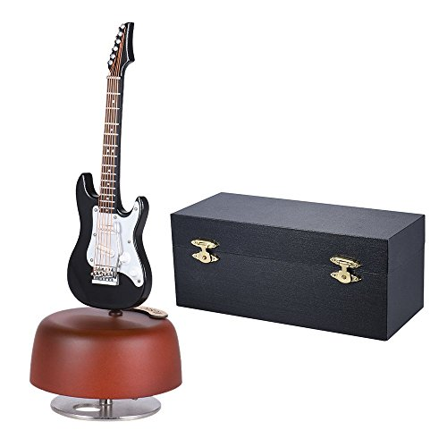 Box Music Guitar (ammoon Classical Wind Up Black Electric Guitar Music Box Rotating Musical Base Instrument Miniature Replica Artware with Case for Birthday/Valentine/Mother's Day/Father's Day Gift)