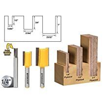 Yonico 14323q 3 Undersized Plywood Dado Router Bits for 3/4, 1/2 & 1/4 Plywood with 1/4 Shank by Yonico