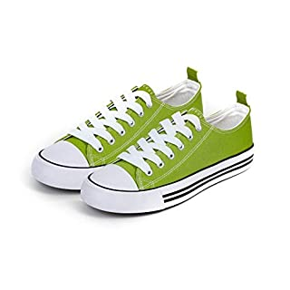 Low Top Cap Toe Women Sneakers Tennis Canvas Shoes Casual Shoes for Women Flats, Size 7 Light Green