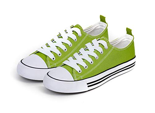 Women's Sneakers Casual Canvas Shoes, Low Top Lace up Cap Toe Flats (11, Green)
