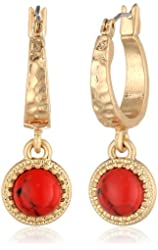 "NINE WEST VINTAGE AMERICA ""Vintage Concha Coral"" Worn Gold Coral Drop Off Hoop Earrings"