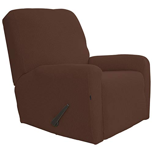Easy-Going Recliner Stretch Sofa Slipcover Sofa Cover 4-Pieces Furniture Protector Couch Soft with Elastic Bottom Kids,Polyester Spandex Jacquard Fabric Small Checks(Recliner,Coffee)