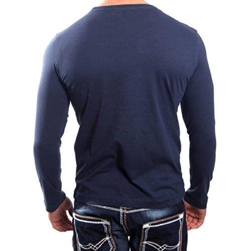 R-Neal 5305 Blau Langarm Sweatshirt Longsleeve Figurbetont Shirt Hoodie T-Shirt, Größe:XXL