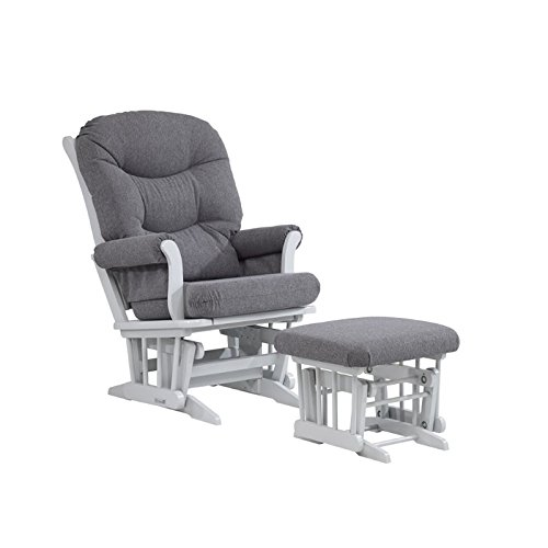 Pemberly Row WhiteSlate Hoop Glider with Ottoman in Gray Swirl