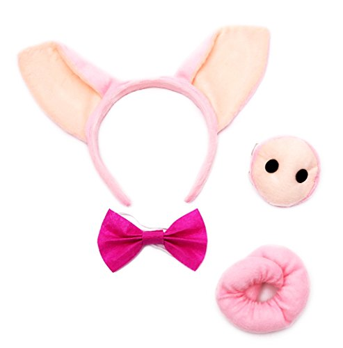 Pig Ears, Nose Tail and Bow Tie Set Costume Kit Accessories -
