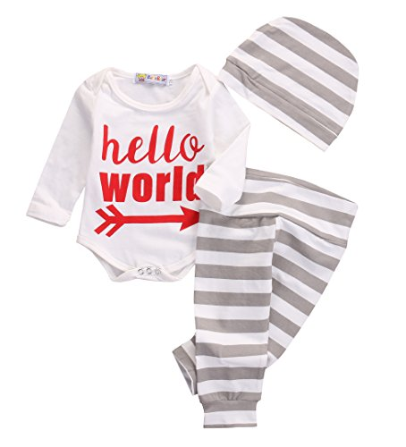 newborn-baby-girl-boy-clothes-outfit-arrow-romper-striped-pants-hat-3pcs-set-0-3months-white