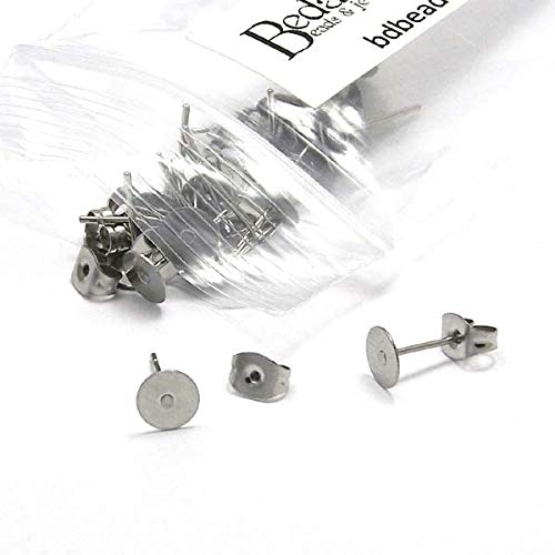 Surgical Steel Ear Posts (20 Hypo-Allergenic 304 Grade Stainless Surgical Steel Flat Pad Setting Earring Findings with Backs (6mm Pad))
