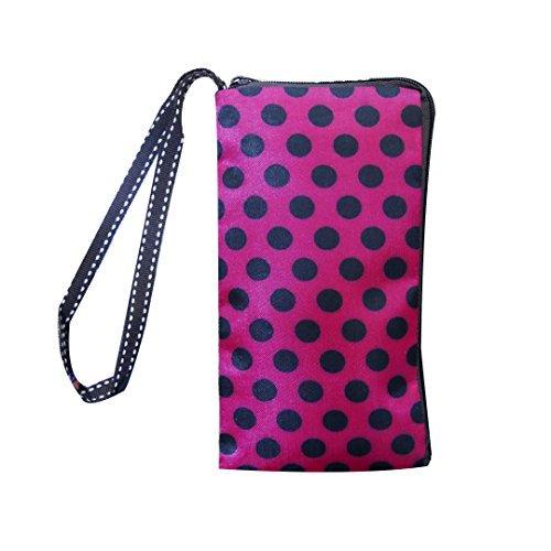 Women Universal Phone Wristlet Wallet Pouch, Tainada Dual Slots Zipper Purse Carry Case Bag for iPhone Xs Max, XR, Xs, Samsung S10, S10+, LG G8, Moto Z4, Google Pixel 3 XL, 3a (Pink Black Polka Dots)
