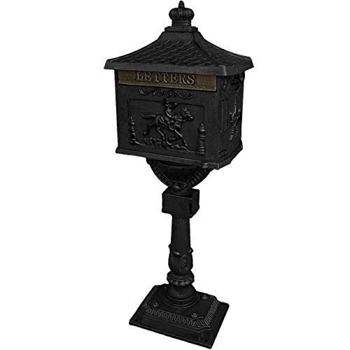 Mail Box Heavy Duty Mailbox Postal Box Security Cast Aluminum Vertical Pedestal (Black)