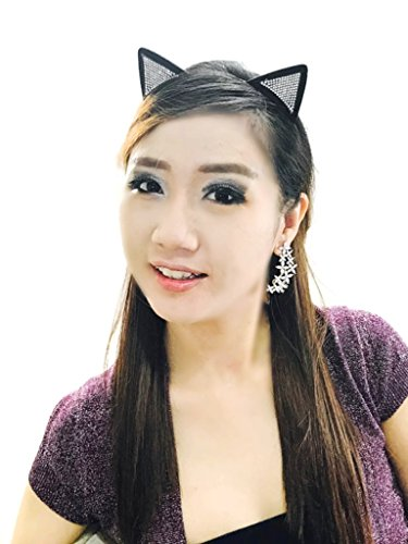 MeeThan Crystal Rhinestone Metal Cat Ear Headband :H10 - Kandi Cat