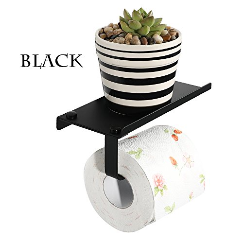 Toilet Paper Holder, SUS304 Stainless Steel Wall Mount Bathroom Tissue Holder with Device Storage Shelf Rack Matte Black