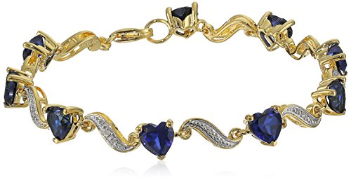 Yellow Gold Flashed Sterling Silver Created Blue Sapphire and Diamond Accent Heart Wave Bracelet, 7.25