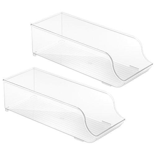InterDesign Refrigerator and Freezer Storage Organizer Bins for Kitchen, Soda Can Holder - Set of 2, Clear