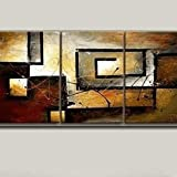Mon Art 100% Hand Painted Canvas Wall Art Oil Painting for Living Room Bedroom Office Abstract Home Decoration Decor Retro Artwork Gallery 16 Inch x 12 Inch x 3 PCS (Stretch Frame)